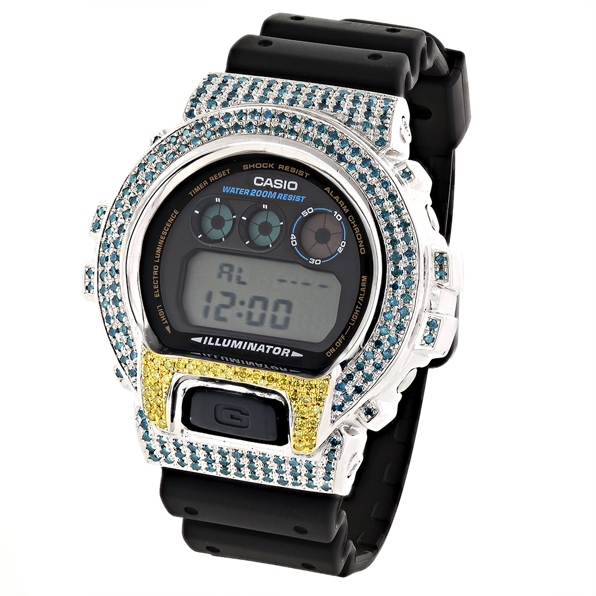 Blue Yellow Diamond G-Shock Watch 4.00ct