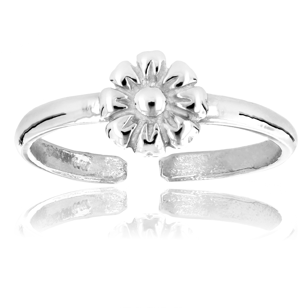 Body Jewelry Adjustable 14K Solid Gold Toe Ring Flower