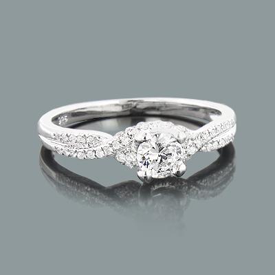 Braided Engagement Ring Setting with Round Diamonds 0.23ct 14K