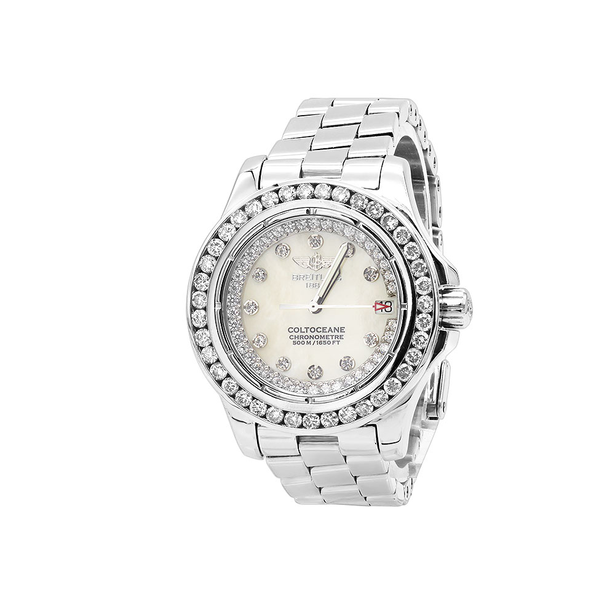 Breitling Colt Ladies Custom Diamond Watch 2.50ct