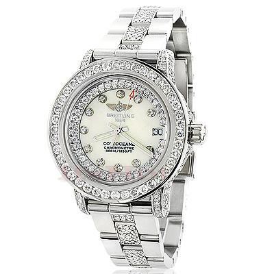 Breitling Colt Ladies Custom Diamond Watch 7ct