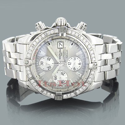 Breitling Diamond Watch Windrider A13356 Chronomat Evolution 1.14ct