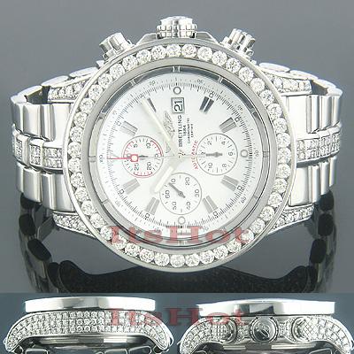 Breitling Super Avenger Mens Chronograph Diamond Watch 12.00 ctw