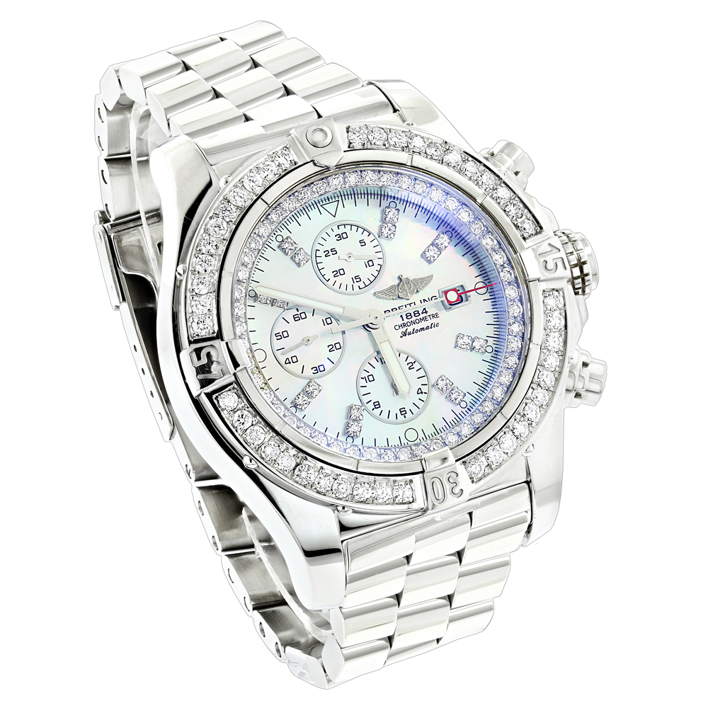 Custom Breitling Super Avenger Mens Diamond Watch 6.50ct