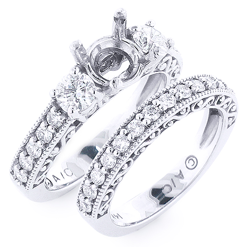Bridal Ring Set: 14K Diamond Engagement Ring Set 1ct