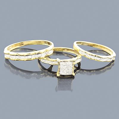 Brown Diamond Ring Set Trio 14K 1.04ct