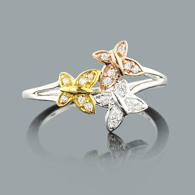 Butterfly Jewelry: Ladies Gold Diamond Ring 0.12ct 14K