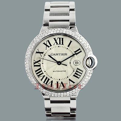 Men's Cartier Ballon Custom Diamond Bezel Watch 2.75ct