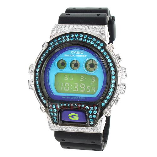 Casio Watches: White Blue CZ Crystal G-Shock Watch 5ct