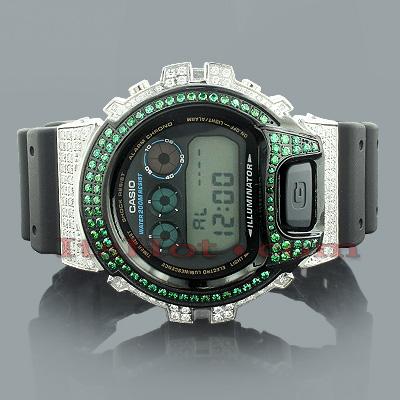 Casio White Green G-Shock Watch with Crystals