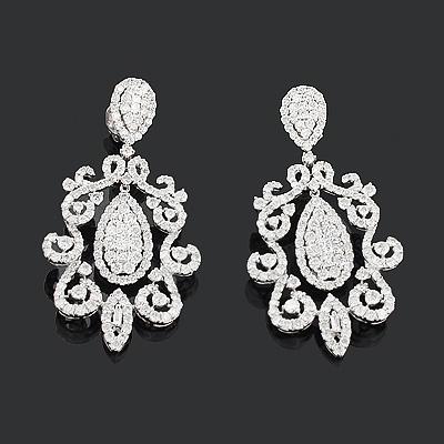 Celebrity Jewelry: Designer Diamond Earrings 7.74ct 18K Gold