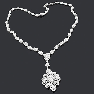 Celebrity Jewelry: Diamond Flower Necklace 14.03ct 18K