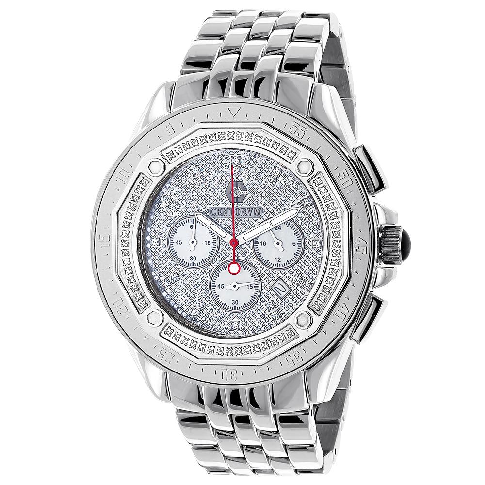 Centorum Mens Diamond Watches 0.55ct Falcon Chronograph