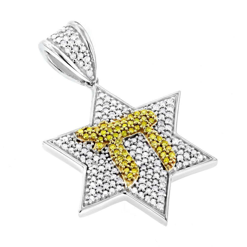 Chai Diamond Star of David Pendant 0.75ct 14K