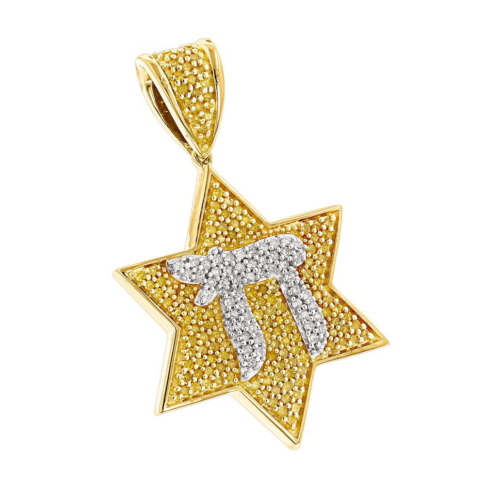 Chai Yellow Diamond Star of David Pendant 0.55ct