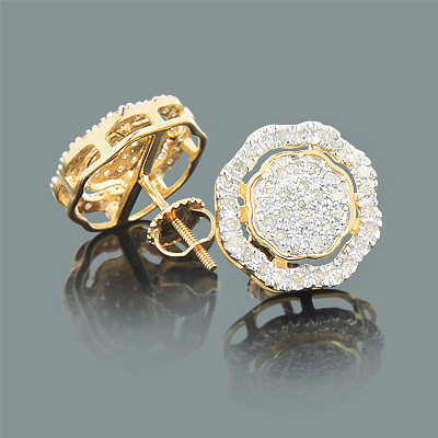 Champagne Color Diamond Earrings 0.60ct 10K Gold