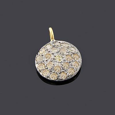 Unique Champagne Diamond Circle Pendant For Women 0.33ct Sterling Silver