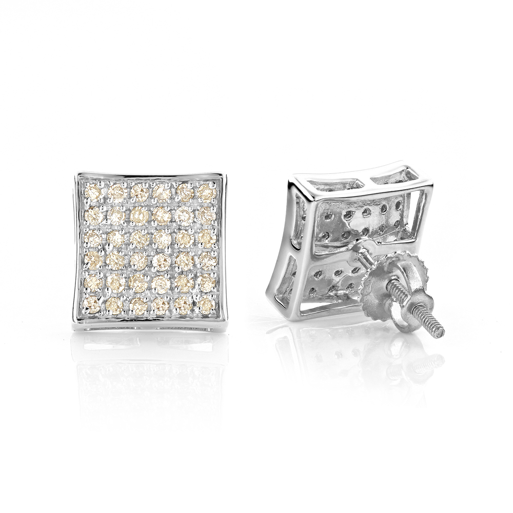 Champagne Diamond Stud Earrings 0.52ct Silver