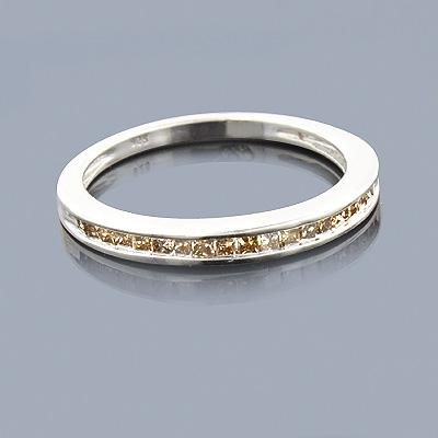 Ultra Thin Champagne Diamond Wedding Band 0.29ct Sterling Silver