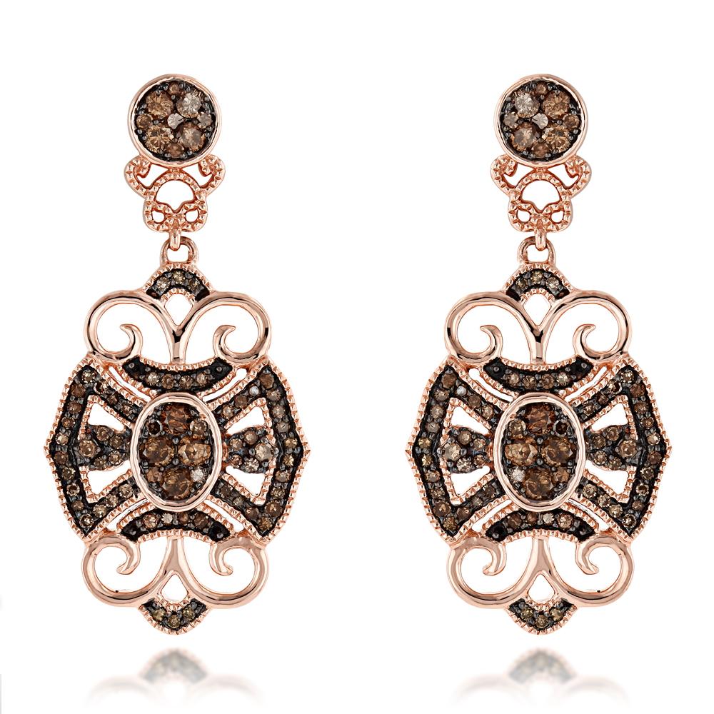 Champagne Diamonds Designer Diamond Earrings for Women Baroque Style 1.25ct