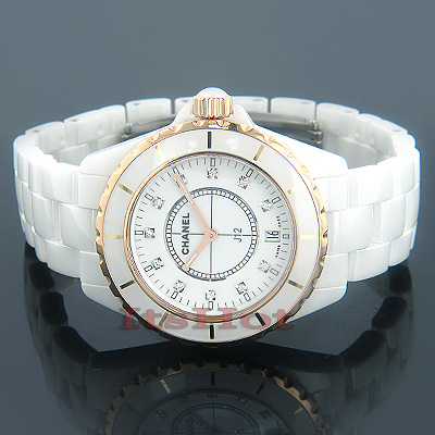 Chanel White Ceramic Ladies Gold and Diamond Watch