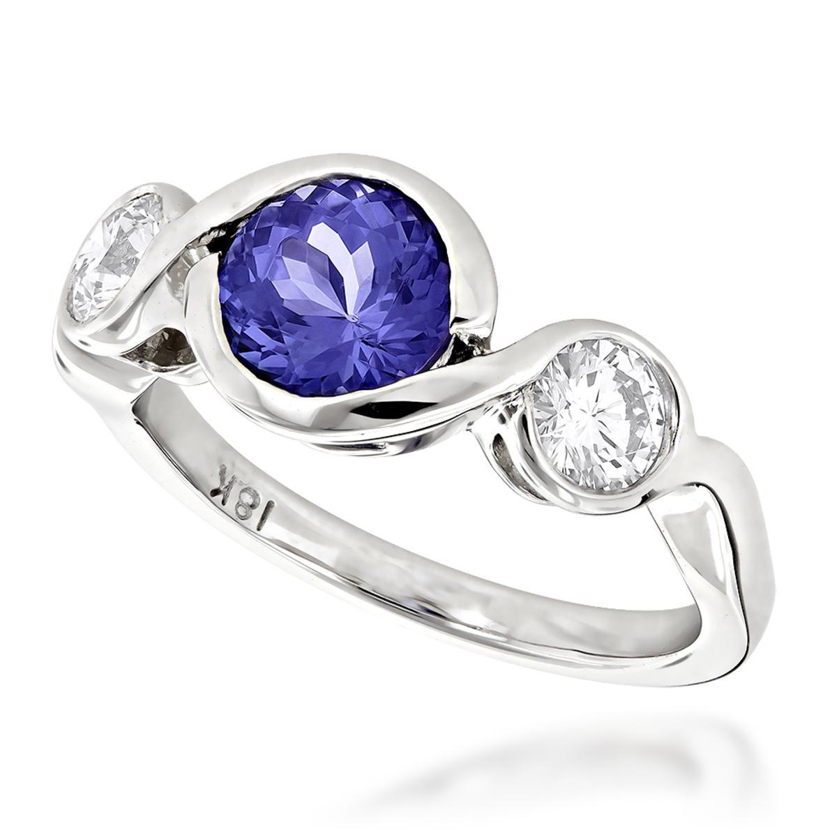 Unique Round Cut Tanzanite and Diamond Engagement Ring 18K White Gold