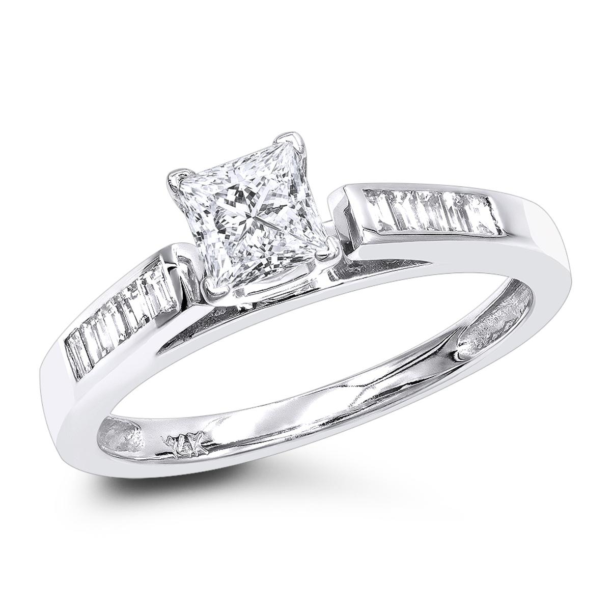 Cheap Engagement Rings 0.75ct Princess Cut Diamond Engagement Ring 14k Gold