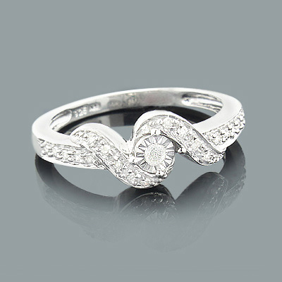 Cheap Engagement Rings Sterling Silver Diamond Ring 025ct