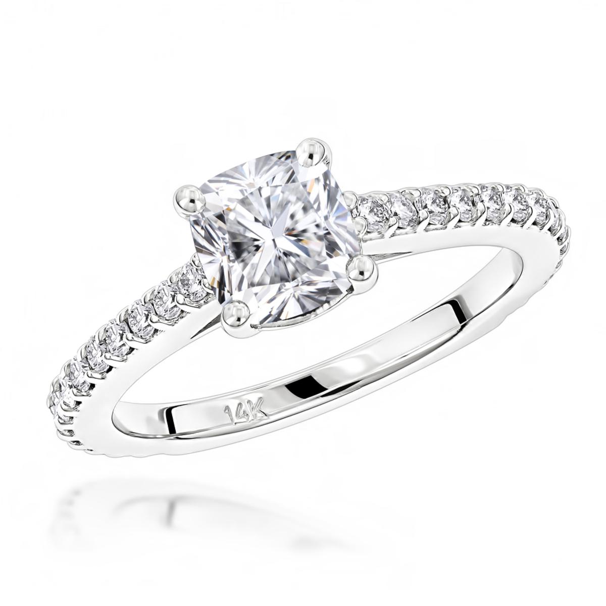 Classic 14K Gold Cushion Diamond Engagement Ring by Luxurman 1.4ct G/VS