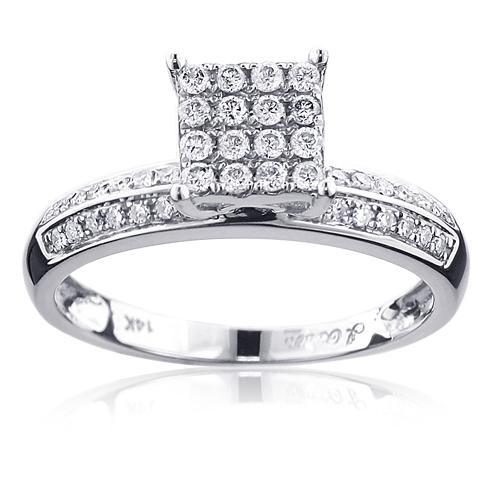 Classic Square Diamond Engagement Ring 0.3ct 14K Gold