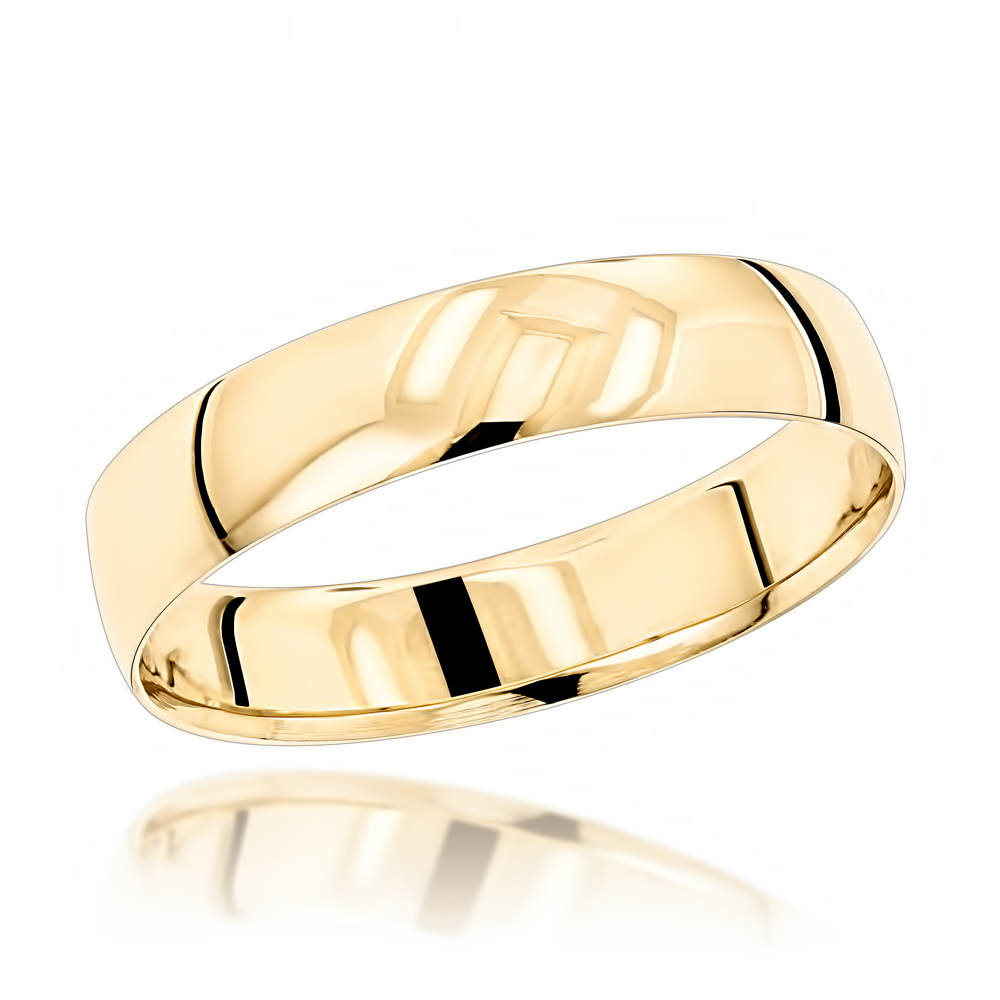 Classic Thin Mens Wedding Band  14K Solid Gold 4mm