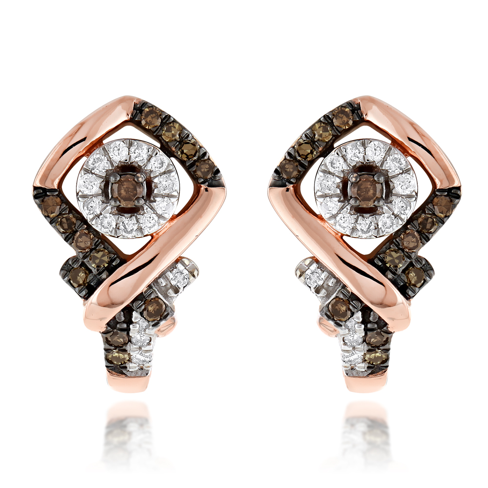 Classy White & Champagne Diamond Earrings for Women 14K Gold 0.33ct