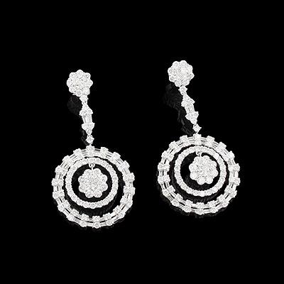 Cluster Diamond Circle Earrings 7.44ct 18K Gold