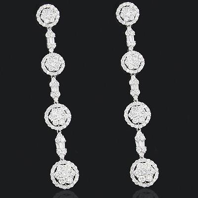 Cluster Diamond Dangle Earrings 5.36ct 18K Gold