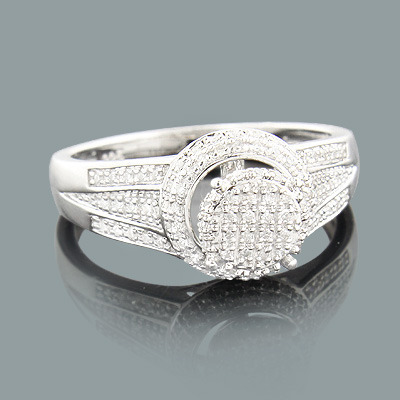 Cluster Diamond Engagement Ring 0.3ct Sterling Silver