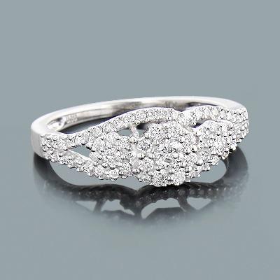 Cluster Diamond Engagement Ring 0.55ct 10K Gold