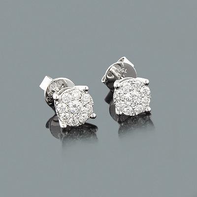Cluster Diamond Stud Earrings 0.7ct 18K Gold
