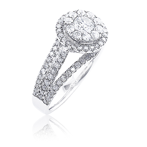 Cluster Halo Diamond Engagement Ring 1.56ct 14K