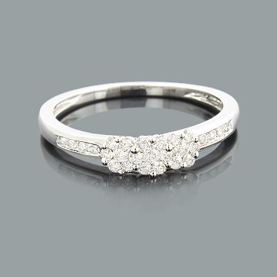 Thin Cluster Rings: Ladies Diamond Flower Ring 0.34ct 14K Gold