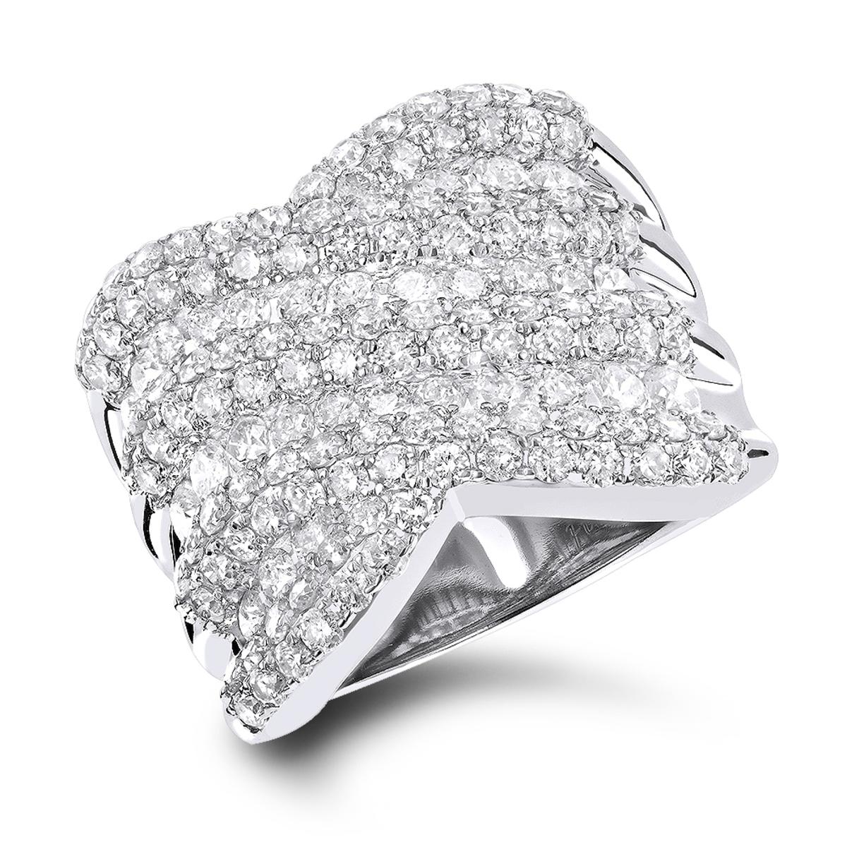 Cocktail Rings: Ladies 3.50 Carat Diamond Ring 14k Gold.