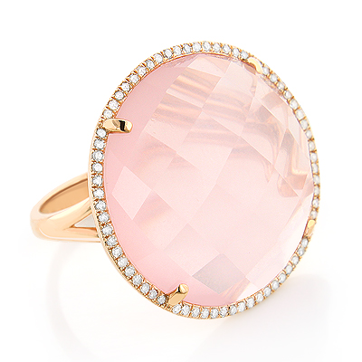 Cocktail Rings: Large Rose Topaz Ring with Diamonds 14K