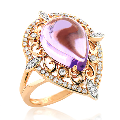 Cocktail Rings: Pear Cut Amethyst Ring with Diamonds 0.35ct 14K Gold