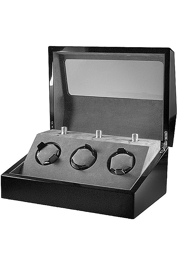 Collectors Watches: Multi-Function Black 3 Slot Watch Winder WW-1004-P1-03
