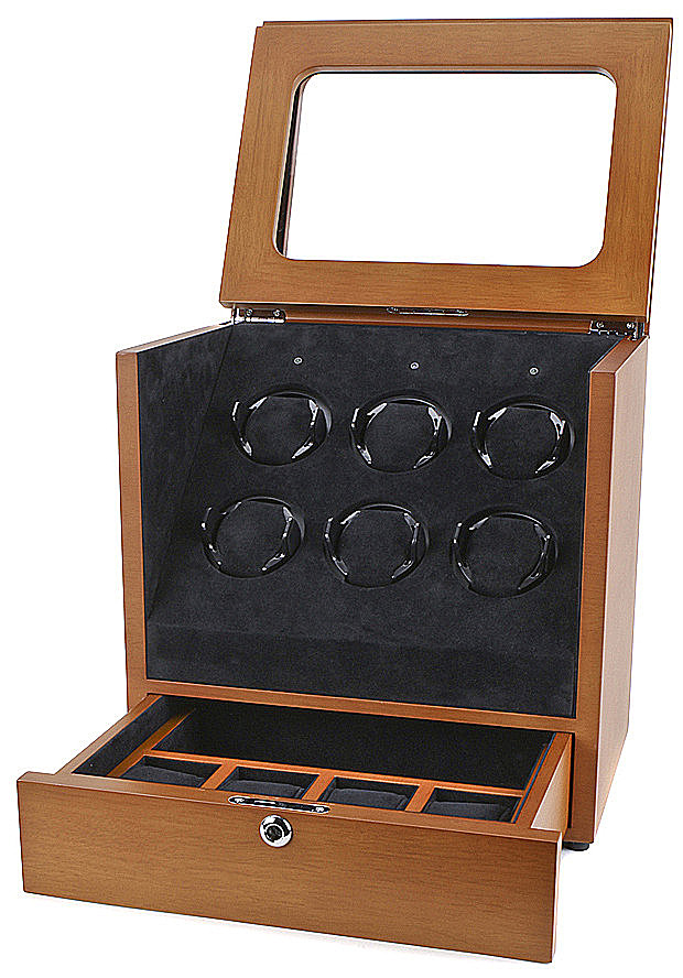 Collectors Watches: Multi-Function Brown 6 Slot Watch Winder WW-1005-P2-10
