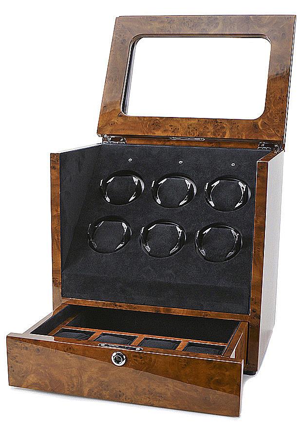 Collectors Watches: Multi-Function Burlwood Brown 6 Slot Watch Winder WW-1005-P11-03
