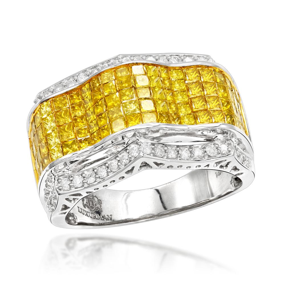 Color Diamond Rings: 14K Mens Diamond Ring 3.97