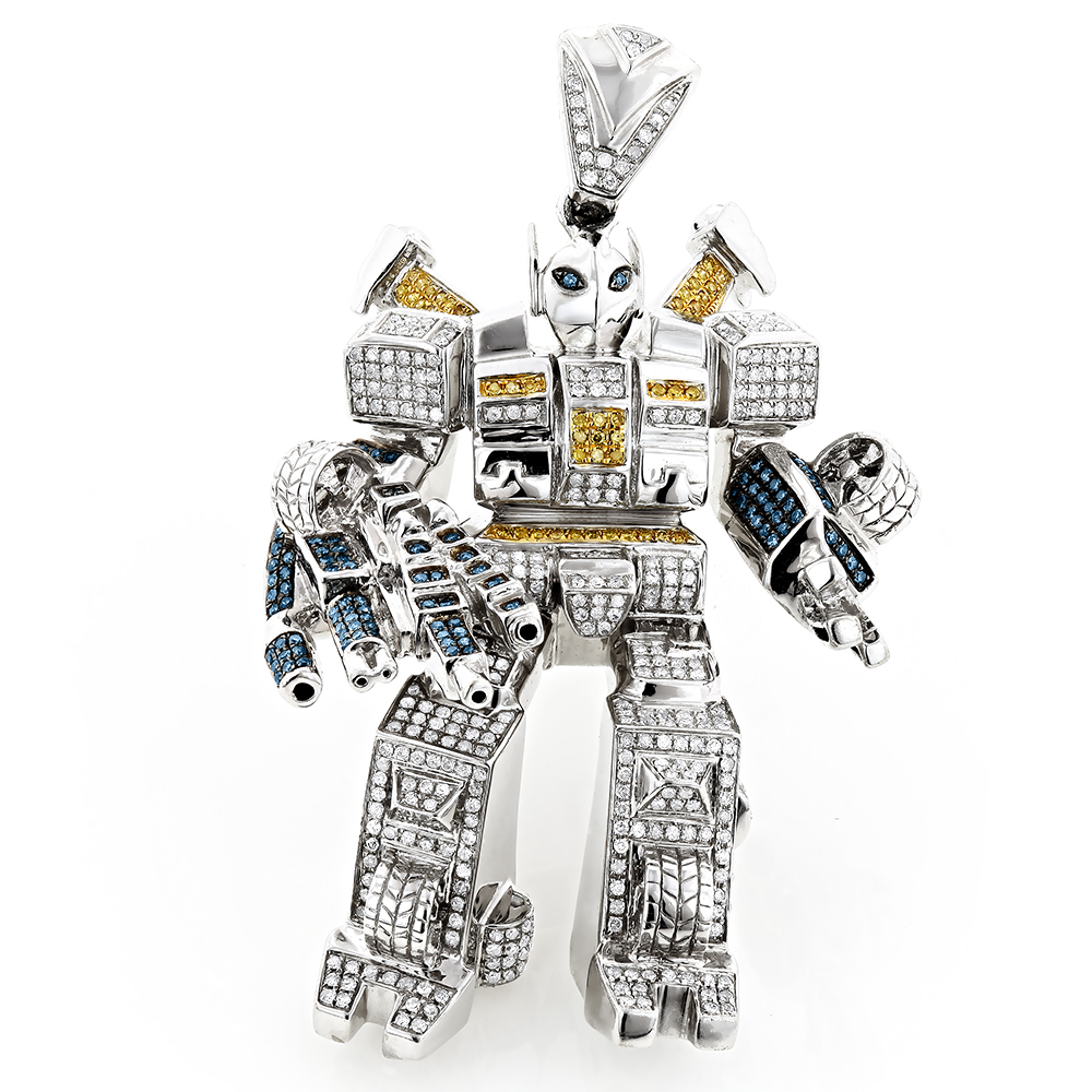Color Diamond Transformer Pendant 10K Gold 2.50ct