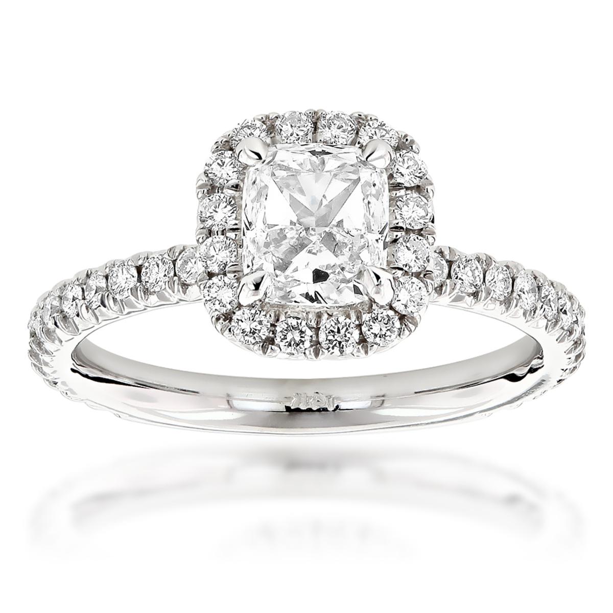 GIA Cushion Cut Diamond Engagement Ring 2.07ct 14K Gold Halo