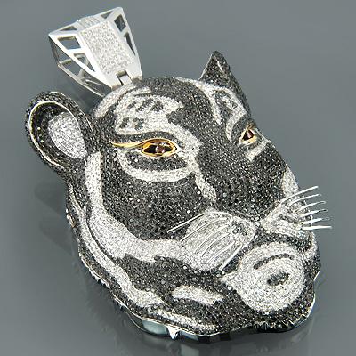 Custom 10K Gold Diamond Tiger Pendant Necklace 16.78ct