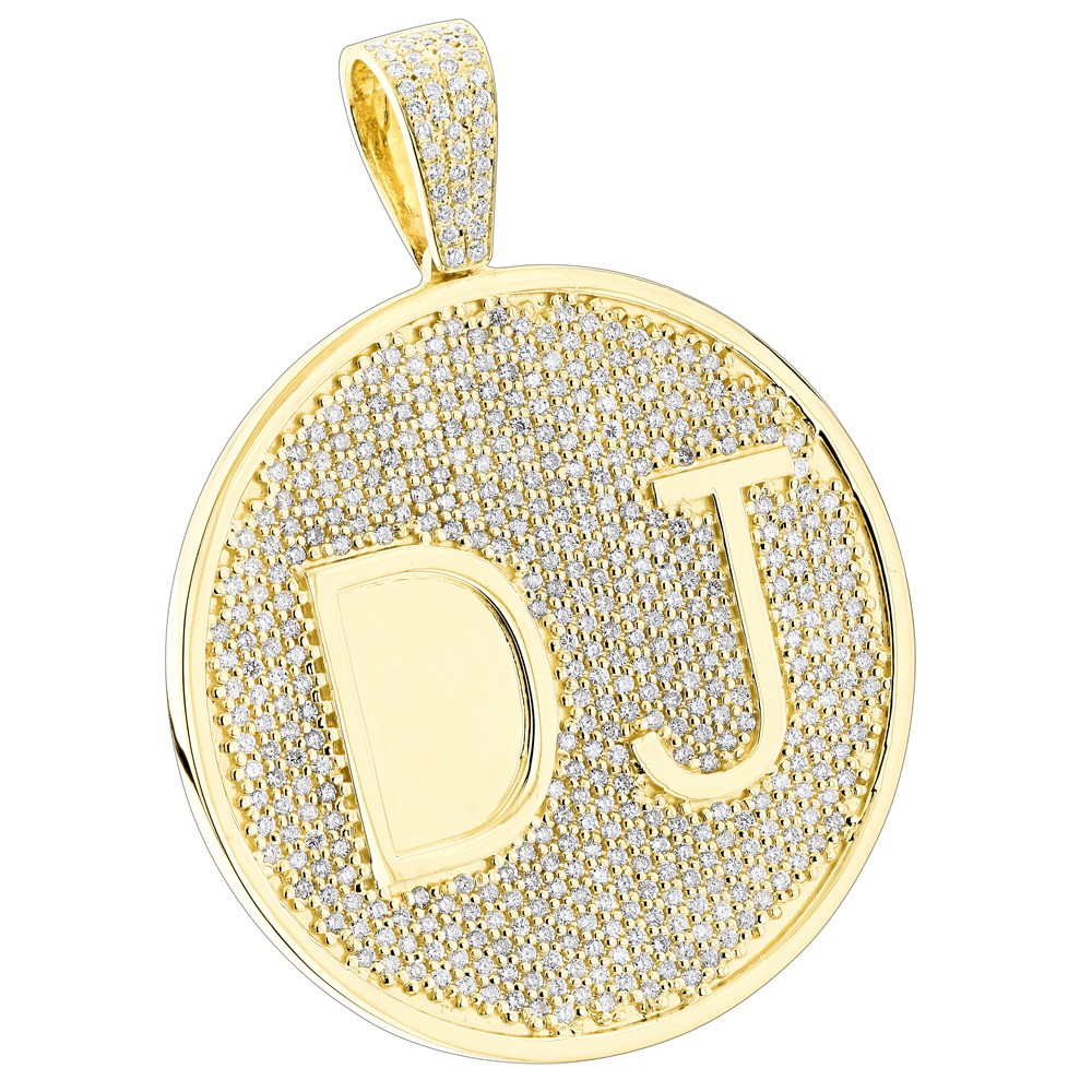 Custom 10k yellow gold diamond dj pendant for men with initials 65ct mozeypictures Choice Image